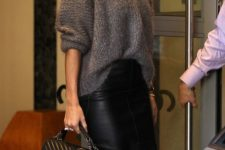 10 Rosie Huntington-Whiteley nailed in a slouchy grey jumper and leather pencil skirt