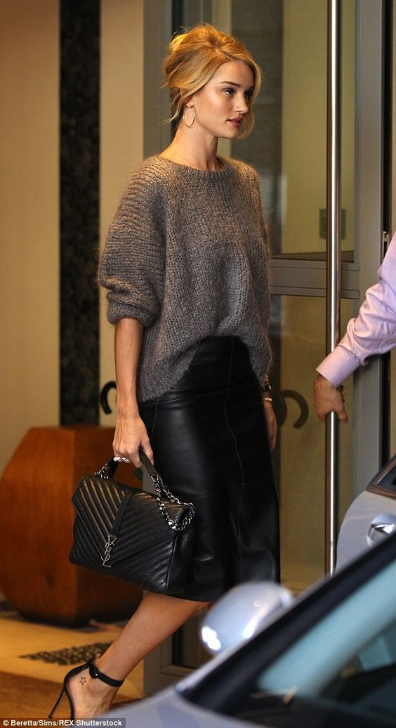 Rosie Huntington Whiteley nailed in a slouchy grey jumper and leather pencil skirt