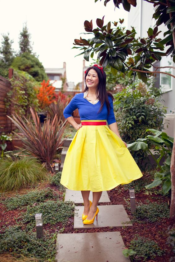 Picture Of Snow White Costume With A Red Midi Skirt A