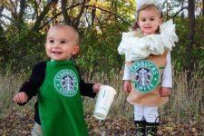 10 a children's duo in Starbucks costumes – a barista and a frappuccino