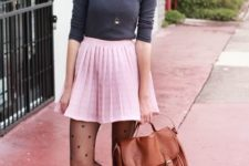 10 a grey top, a pink pleated skirt, heart print tights, brown booties and a bag
