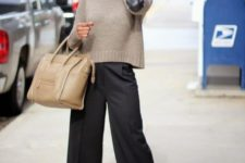 10 black culottes, a neutral sweater, strappy shoes and a neutral bag