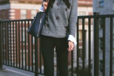 10 black jeans, a white shirt, a grey embellished sweater and burgundy bow shoes
