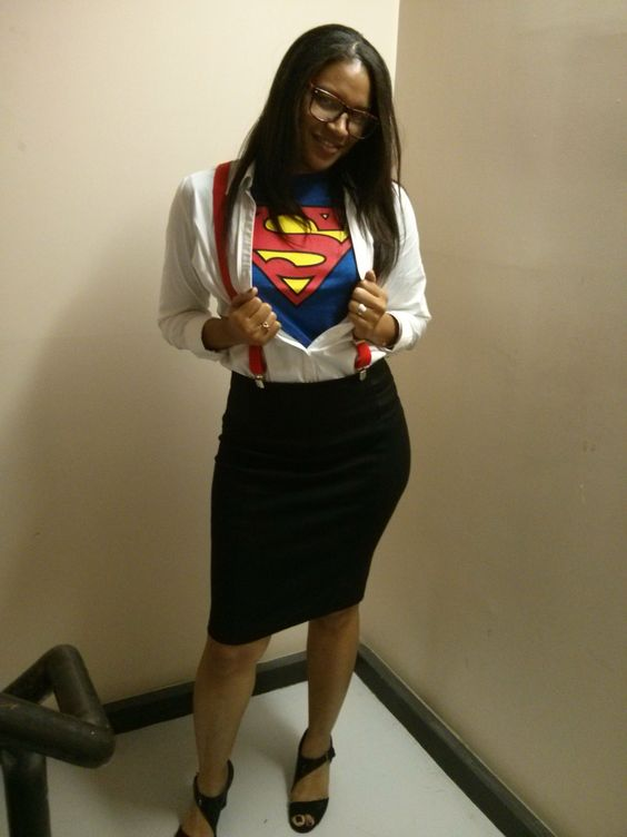 Superman Incognito costume with a black pencil skirt, red suspenders, a Superman shirt and black shoes
