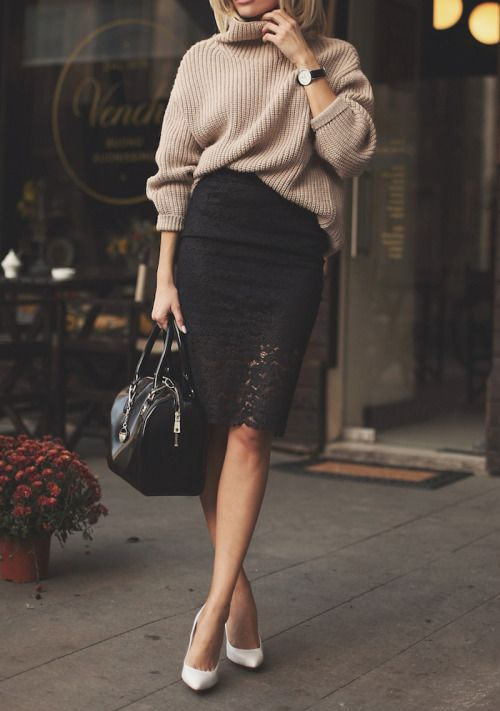 a black lace pencil skirt, a brown oversized sweater, white heels and a black bag