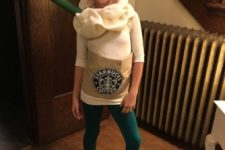 11 a cute frappuccino costume with emerald leggings and a white top can be easily DIYed