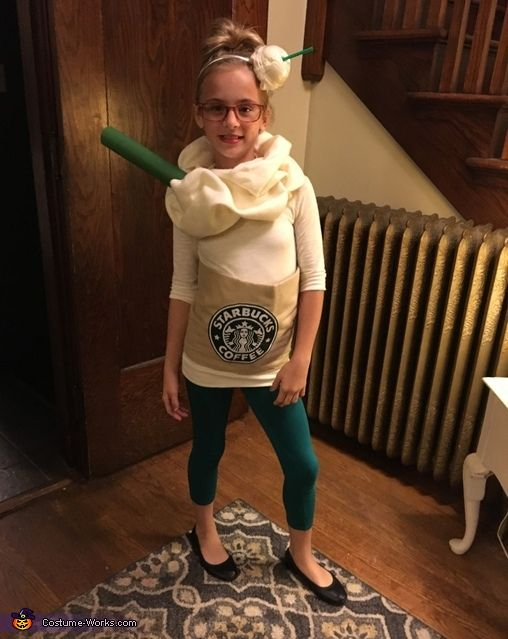 a cute frappuccino costume with emerald leggings and a white top can be easily DIYed