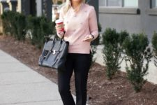 11 black trousers, a pink embellished sweater, black suede bow heels and a bag