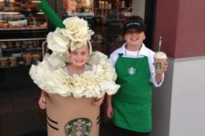 12 a kids duo in Starbucks costumes – a cashier and a frappuccino together