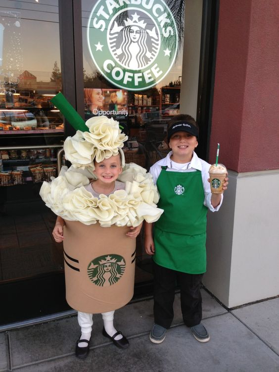 a kids duo in Starbucks costumes - a cashier and a frappuccino together