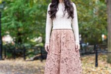 13 a dusty rose midi lace skirt, a neutral sweater and black shoes for a feminine look