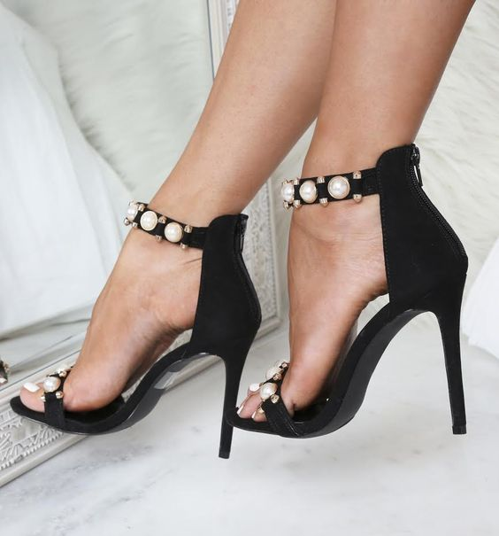 black suede heeled sandals with large pearls for a sexy look