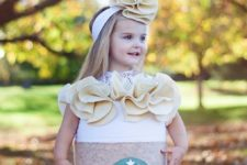 13 caramel frappuccino Halloween costume with a matching headband for a little girl