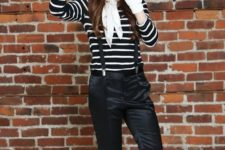 14 a simple Halloween mime costume with black pants, a striped shirt, red flats, white gloves and a black beret