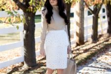 14 a white lace pencil skirt, a neutral cowl neck sweater, nude heels and a bag