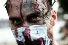14 scare everyone with a bloody docotr look and a makeup with a bloody face