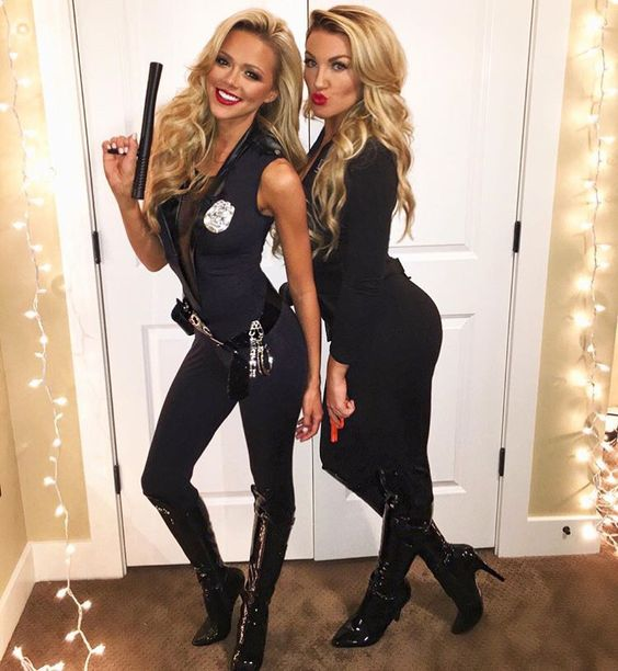 sexy Halloween cop costumes with tall boots and navy jumpsuits