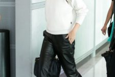 15 black leather pants, black heels and a white cropped sweater are things with which you can't go wrong