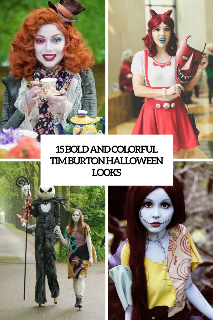 bold and colorful tim burton halloween looks cover