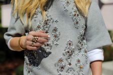 15 neutral pants, a white shirt and a grey embellished sweater