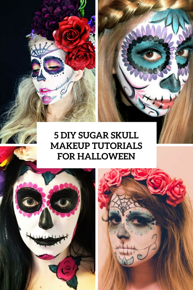 5 diy sugar skull makeup tutorials for halloween cover