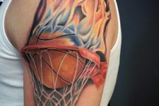 Ball with flame tattoo