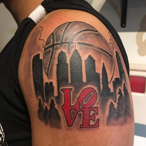 Basketball and New York tattoo