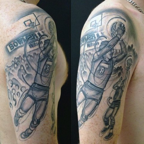 Basketball player tattoo on the hand