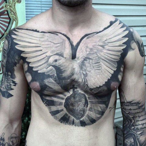 Big and creative tattoo on the chest