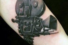 Black 3D vintage camera tattoo