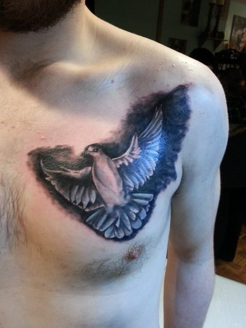 Black and white dove tattoo on the chest