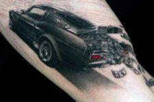 Black car and money tattoo