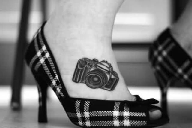 Camera tattoo idea on the foot