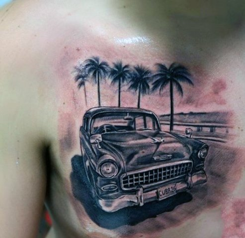 Car and palm trees tattoo