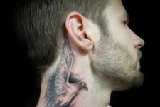 Cool 3D tattoo on the neck