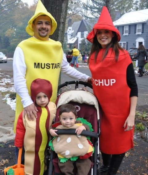 a mustard costume for the dad, a ketchup costume for the mum, a burger and a hot dog costume for the kids