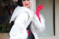 Cruella de Vil outfit with black and white wig
