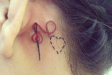 Cute tattoo behind the ear