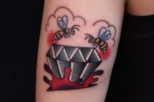 Diamond and honey bees tattoo