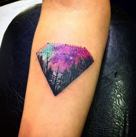 Diamond with image of forest tattoo