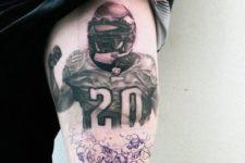 Football player tattoo on the leg