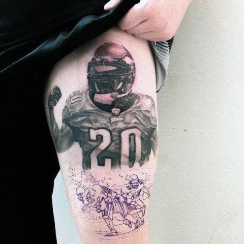 Football player tattoo on the leg