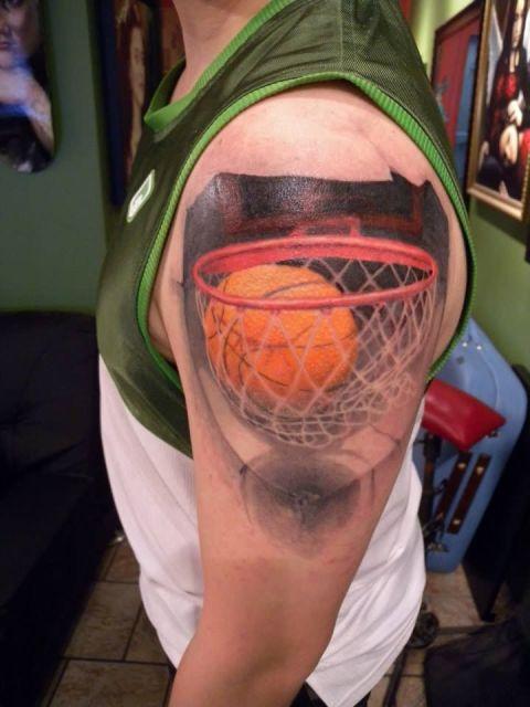 Half sleeve ball in basket tattoo