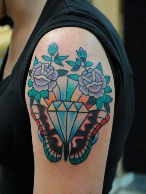 Half-sleeve diamond and flowers tattoo