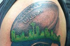 Half-sleeve football tattoo idea