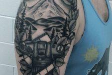 Half-sleeve nature and camera tattoo