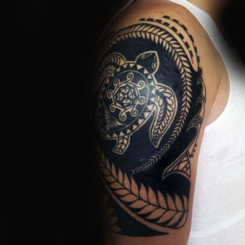 Half-sleeve tribal tattoo