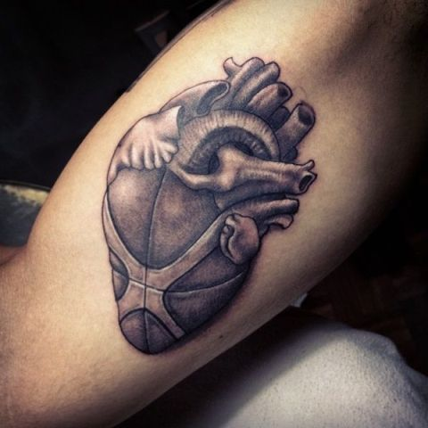 Heart as ball tattoo