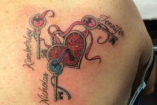 Lock and three keys with children names tattoo