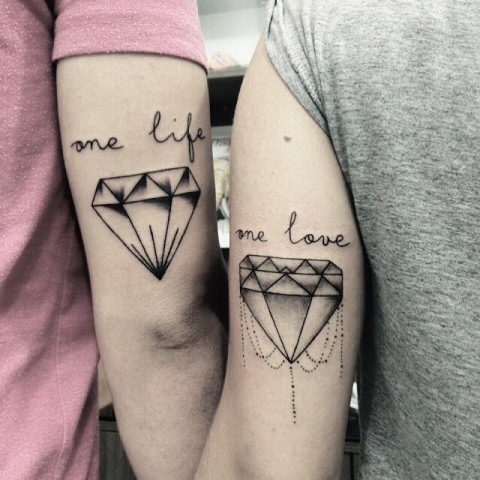 Matching tattoos on the arms